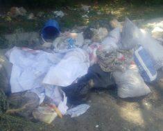 На углу ул.Рустембекова-Алматинская валяется мусор
